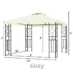 Costway 2 Tier 10'x10' Patio Gazebo Canopy Tente Shelter Auvent Cadre En Acier