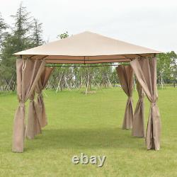 Costway Outdoor 10'x13' Gazebo Canopy Tent Shelter Awning Steel Frame Withwalls