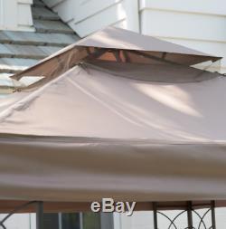 Cour Arrière Gazebo Pergola Métal Canopy Ombre Brown 8' X 8' Garden Patio Pont Nouveau