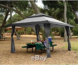 Cour Arrière Pare-soleil Gazebo Canopy Tente Patio Extérieur Jardin Pliant Gris 13 X 13