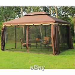 Double Top Gazebo 10'x13' Canopy Avec Mesh & Rideaux Patio Netting Jardin Extérieur