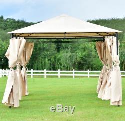 Élégant Grand Gazebo En Acier 10 X13 Écran Étanche Rideaux Métalliques Tente Canopy