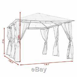En Plein Air 10'x13' Gazebo Auvent Tente Shelter Cadre En Acier Auvent Withwalls Gris Nouveau