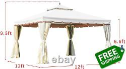 Erommy 12 X 12 Canopée Extérieure Gazebo Double Toit Patio Gazebo Cadre En Acier Avec