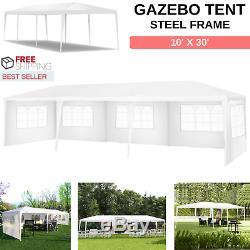 Extérieur Gazebo Auvent Tente Taille 10' X 30' Cadre En Acier Avec 5 Amovible Parois