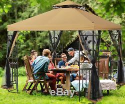 Extérieur Gazebo Cadre En Acier À Deux Niveaux Canopy Top 10x10 Ft Garden Backyard