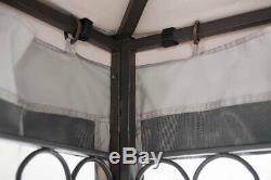 Extérieur Gazebo Canopy 10' X 12' Avec Cadre En Acier Jardin Patio Netting Mariage
