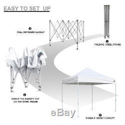 Ez Pop Up Canopy 10' X10' Instant Party Extérieur Mariage Patio Tente Gazebo
