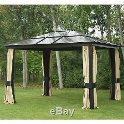 Gazebo 12'x10' Canopy Net Toit Rigide En Acier Extérieur Patio Tente Avec Des Murs Mesh