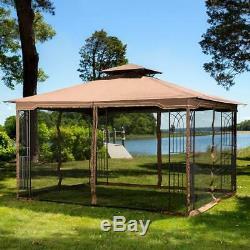 Gazebo Acier Kit Pergola Heavy Duty 11x13 Toit Cadre Métal Canopy Avec Netting