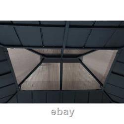 Gazebo Avec Châssis En Aluminium Brown 12,9' X 14,9' + Plaquette De Toit En Acier