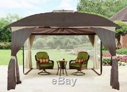 Gazebo En Acier Grand Canopy Pavillon Projeté 12x10 Ventilé Moustiquaire Heavy Duty
