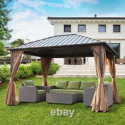 Gazebo En Aluminium Hardtop En Acier Backyard De 12' X 10' Avec Rideau Grillagé