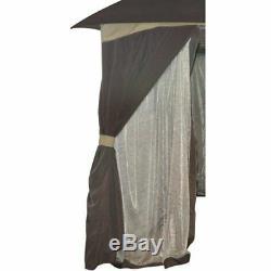 Gazebo En Plein Air Avec Moustiquaire Confidentialité Panneaux 10'x12' Canopy Tente Métallique