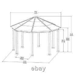 Gazebo Pool Patio Octagon Sun Shelter Steel Frame 14.9' X 14.9' Brun