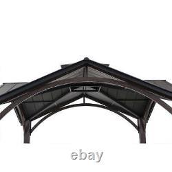 Gazebo Pool Patio Sun Shelter Gabled Roof Steel Frame 12.5' X 12.5