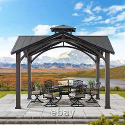 Gazebo Pool Patio Sun Shelter Toit Gabled Cadre En Acier 12,5' X 12,5