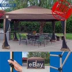 Gazebo Portable Grand Canopy 10x10 Cadre En Acier Instantané Brown Pliant Avec Des Jupes