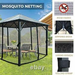 Gazebo Tente 10' X 10', Toit En Aluminium, Cadre En Acier, Filetage Mosquito, Gris Charbonnier