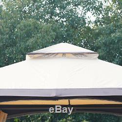 Grand Auvent Extérieur Pergola Patio Avec 2-tier Évacuation Roof & Strong Cadre En Acier