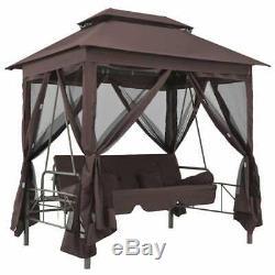 Grand Cadre En Acier Gazebo Tente Avec Moustiquaire Canopy Et Swing Banc, Brown