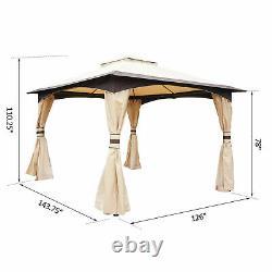 Grand Pont Extérieur Patio Canopy Avec Toit D'évent De 2 Étages Et Cadre En Acier Solide