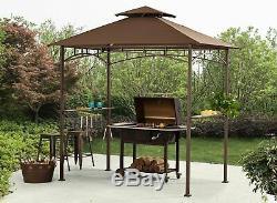 Grill Canopy Patio Extérieur Abri Brown Cadre En Acier Grill Pluie Shelter Couverture