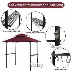 Grille Extérieure Gazebo 8x5 Ft Shelter Tente Double Tier Soft Top Canopy Cadre En Métal