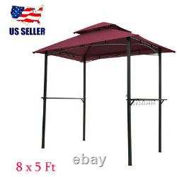 Grille Extérieure Gazebo 8x5 Ft Shelter Tente Double Tier Soft Top Canopy Steel Frame
