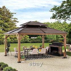 Hard Top Gazebo 13 X 15 Pieds Cedar Framed With Steel 2 Tier Hip Roof Sunjoy Nouveau