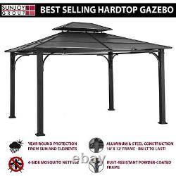 Hardtop Gazebo Sunjoy 10 X 12 Chatham Acier Avec Toit Ventilé & Résille