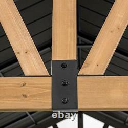 Helena Collection 11 X 13 Pieds Cedar Framed Gazebo Avec Steel Gable Matte Black