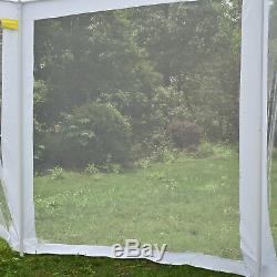 Hexagonal Patio Extérieur Gazebo Auvent Tente De L'événement Avec Moustiquaire Blanc