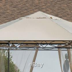Hexagonal Patio Gazebo Cadre En Acier Grand Zippered Moustiquaire Beige Canopy