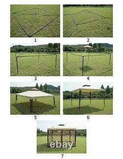 Jardin Extérieur Gazebo Patio Métal Baldaquin Backyard Party Tente 2 Niveaux Avec Filet