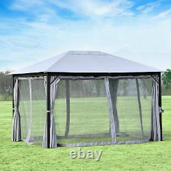 Jardin Extérieur Patio Gazebo Canopy Pa Polyester Toit En Acier Cadre En Aluminium Gris