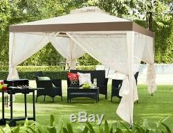 Jardin Gazebo Cadre En Acier Tente Extérieure Moustiquaire Écran Ombre Beige Canopy