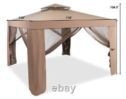Jardin Gazebo Canopy Curtains Nets Bronze Steel Frame Party Tent Shelter Outdoor