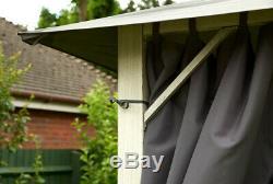 Jardin Vintage Carré Gris Métal Gazebo 3x3m Rideaux Gris Inc Canopée Imperméable À L'eau