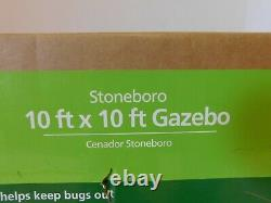 Mainstays Stoneboro 10' X 10' Gazebo Avec Filet De Maille Tan