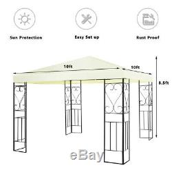 Maison En Plein Air 10' X 10' Cour Arrière Jardin Auvents Patio Gazebo Auvent Tente Métal