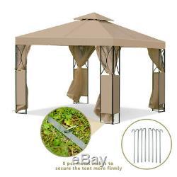 Mariage Gazebo 10x10 Cadre En Métal Tente Extérieure Jardin Canopy W Murs Moustiquaire