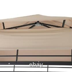 Metal Grill Gazebo Grande Verrière Bbq Double Toit Tend Barbeque Cover 8 Ft Beige
