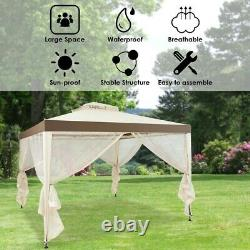 Metal Outdoor Gazebo Canopy Patio Shelter 10'x10' Privacy Panels Mesh Mosquito