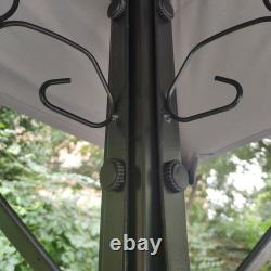 Nouveau Grill Gazebo 8x5ft Shelter Tent Double Tier Soft Top Canopy Steel Frame Grey
