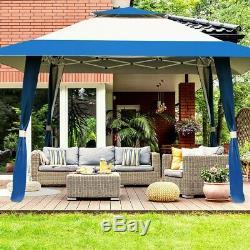 Outdoor Gazebo 13' X 13' Canopy Ventilé Cadre Supérieur En Acier Arrière Abri De Jardin