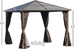 Outsunny 10' X 10' Outdoor Patio Gazebo Steel Canopy Avec Cadre En Aluminium