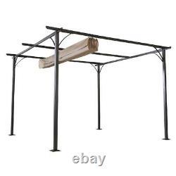 Outsunny 11.5 Retractable Canopy Cover Steel Frame Classic Pergola Gazebo