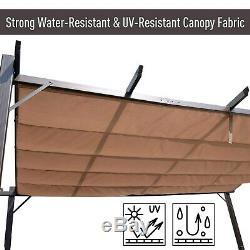 Outsunny Extérieur En Acier Inoxydable Cour Arrière Patio Canopy Cover 10' X 10 X 13 Brown
