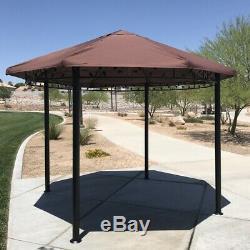 Palm Springs Jardin Patio Extérieur 11.5ft Circulaire Auvent Gazebo Avec Cadre En Acier